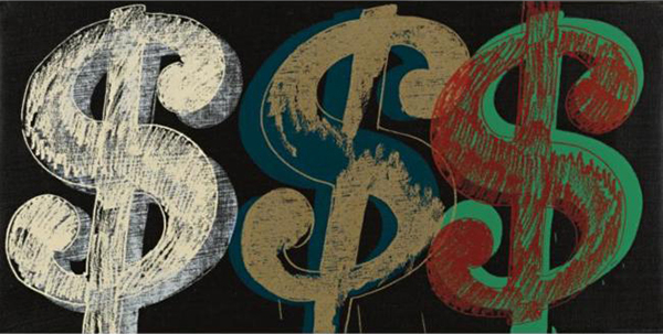 Andy Warhol - Triple Dollar Sign - 10x20inch Acrylverf en zeefdruk op canvas