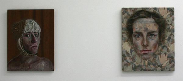 Carlijn Bakker - Annelotte & Carlijn 34x45cm Olieverf en vetkrijt op hout & 38x46cm Olieverf en vetkrijt op doek