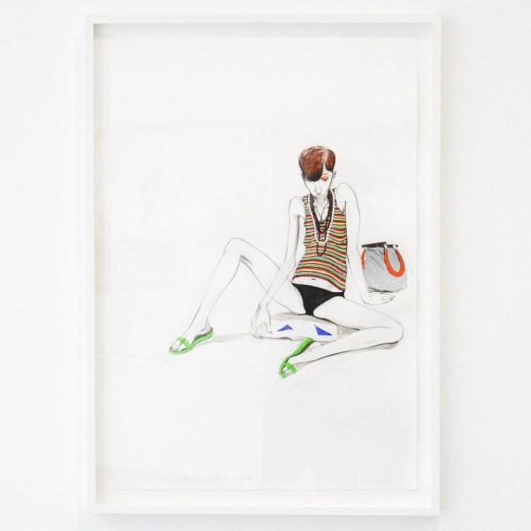 Charles Avery - Untitled (Girl with Magazine Jadindagadendar) - 84x57cm Potlood, inkt, acrylverf en gouache op papier op linnen