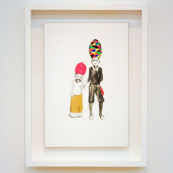 Charles Avery - Untitled (Two Children dressed for the Empiricist Ball) - Potlood inkt, gouache en acrylverf op papier
