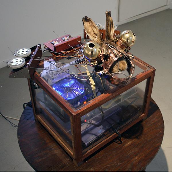 Christiaan Zwanikken - How a Dead Hare Explains Paintings - 40x50x45cm - Haas, koper, animatronics, computer en geluid
