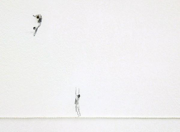 Claire Harvey - The Catch - Installatie met olieverf op muur met schroefjes en touw (detail)