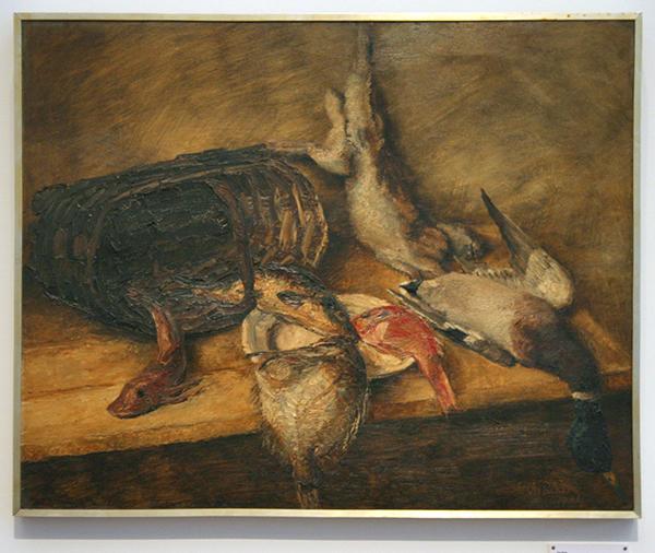 Conrad Kickert - Stilleven met vissen en vogels - Olieverf op canvas 1931