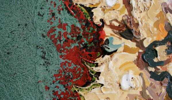 Cornelia Schleime - Dummes Schaf - 200x180cm Acrylverf op doek (detail)