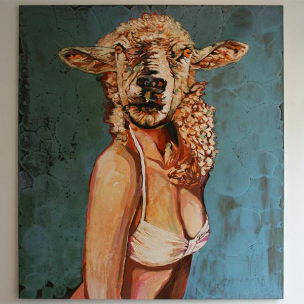 Cornelia Schleime - Dummes Schaf - 200x180cm Acrylverf op doek