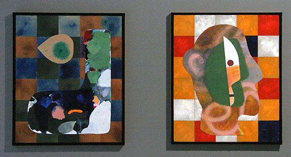 Dave McDermott - KS & Portrait - 64x35cm Jute, linnen, canvas, olieverf, lak en wol op paneel