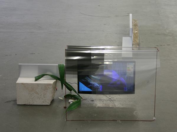 David Jablonowski - (Part of a series) Corporate Foresight - Steen, aluminium, monitor, plastic sheets, bladeren, kruiden en specerijen