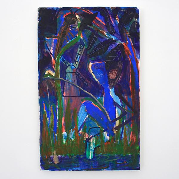 Derk Thijs - Blue - 66x41cm Acrylverf en olieverf op multiplex