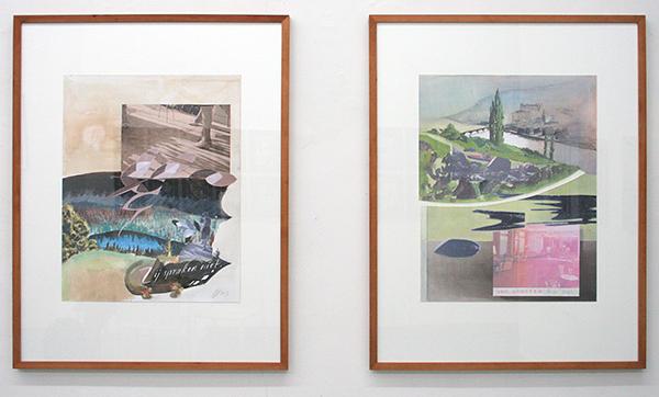Diederik Gerlach - Zij Spraken niet & Een plaatselijke bui - 60x47cm Collage en gouache op papier