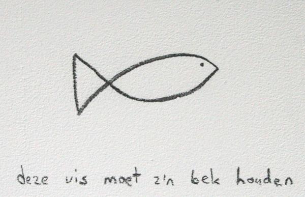 Elsbeth Ciesluk - Vis - Houtskool op muur