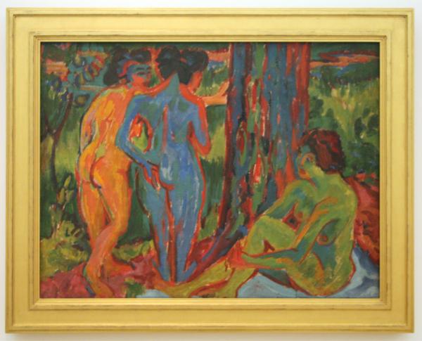 Ernst Ludwig Kirchner - Nacktes Madchen hinter Vorhang - Olieverf op jute