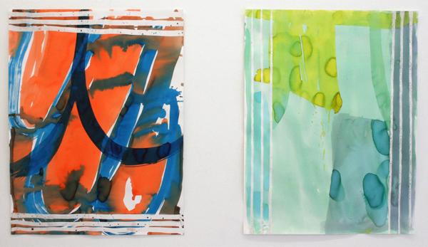 Fiona Mackay - Caprice & Cucumber Show - 50x65cm Batik en was op papier