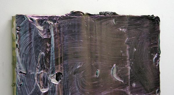 Florian Quistrebert, Michael Quistrebert - Overlight 4 - 46x63cm Modelerings pasta, spuitbus en iriserende coating op paneel (detail)