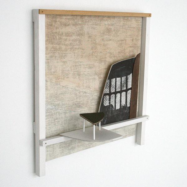 Frank Hannon - Black & White Interior (wallwork) - 54x45x20cm Collage, olieverf op linnen, hout, plastiek en karton