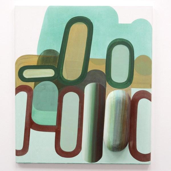Gabrielle van de Laak - Broad Beans - 110x95cm Acrylverf, pigment en polystyreen op katoen