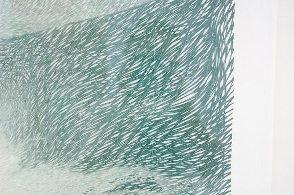 Georgia Russell - Green Wave - Bedrukt en gesneden Kozo papier (detail)