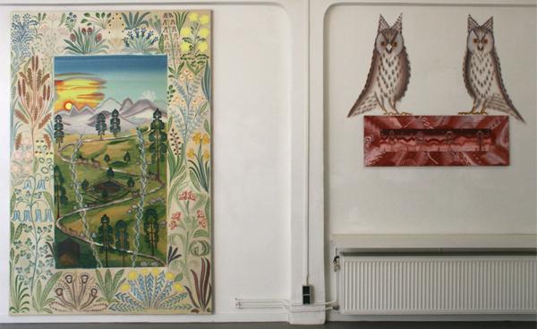 Gijs Frieling - Casa Dolijn & Berglandschap met sterren - 180x280cm & 130x45cm Caseine en pigmenten op linnen en muur