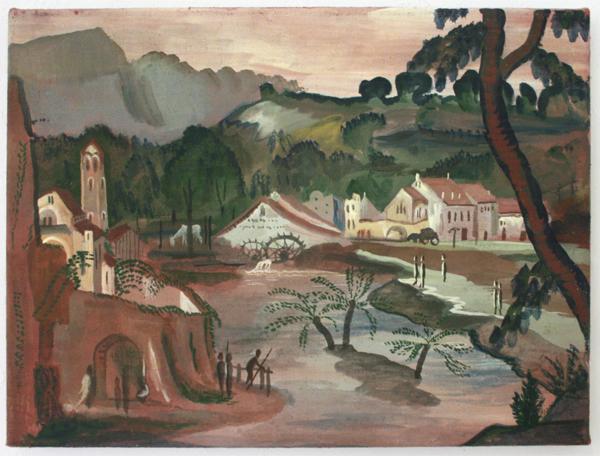 Gijs Frieling - De Watermolen (naar Veronese) - 40x30cm Caseine en pigmenten op linnen