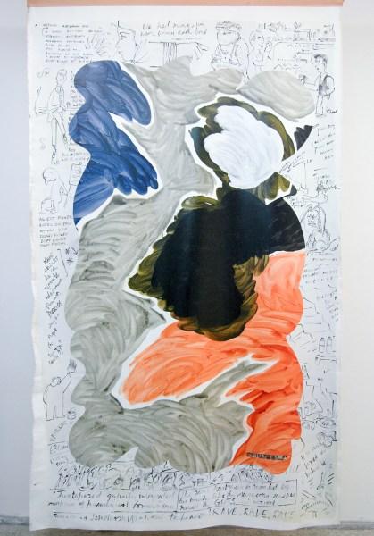 Helen Johnson - Marginalia - 305x183cm Synthetische polymeer verf en magneten op canvas en leder