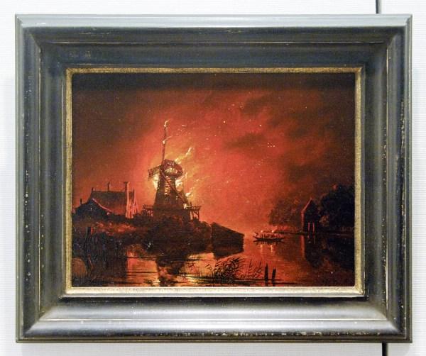 Hendrik G Ten Cate - Brandende Molen bij Nacht - Olieverf op paneel
