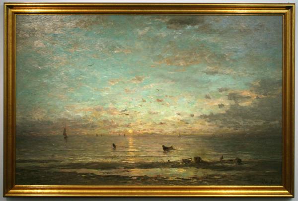 Hendrik W Mesdag - Zonsondergang met garnalenvissers - Olieverf op doek