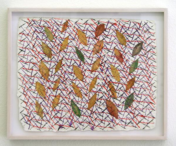 Henri Jacobs - 499, 28 sept 2010, Weaving & tree leaf writing - 25x32cm Aquarel op Moulin de Larroque papier
