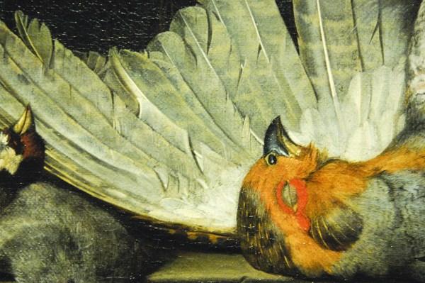 Henri de Fromantiou - Vanitasstilleven met dode vogels in een nis - Olieverf op doek, 1666 (detail)