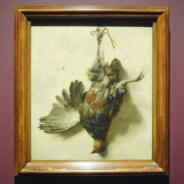 Jan Baptist Weenix - Dode patrijs, hangend aan een spijker - Olieverf op doek