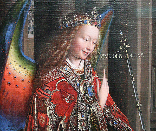 Jan van Eyck - Annuciatie - Paneel overgebracht op doek (detail)