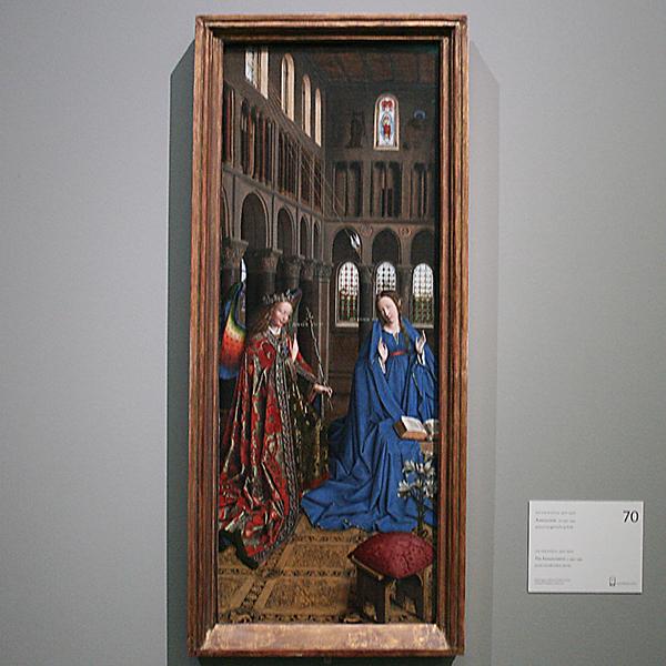 Jan van Eyck - Annuciatie - Paneel overgebracht op doek