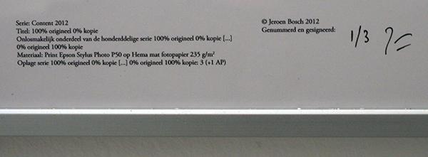 Jeroen Bosch - 100% origineel, 0% kopie - A4, inktjet op hema papier (detail)