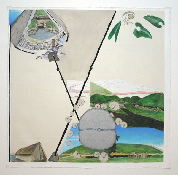 Jo Baer - Time-Line (Spheres, Angles and the Negative of the 2nd Derivative) - Olieverf op doek