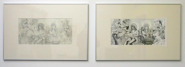 John Dyer Baizley - Yellow & Green - 58x28cm Potlood op papier & Indische Inkt op papier