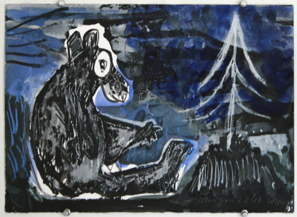 John van t Slot - Untitled (Bear) - 31x41cm Gouache op papier