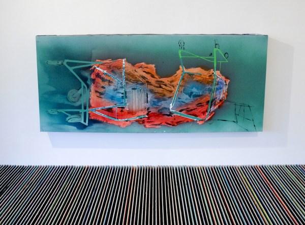 Jop Vissers Vorstenbosch - Zwerfafval (Station Brussel Noord) - 101x238x20cm Olieverf, lak, acrylverf en tape op canvas