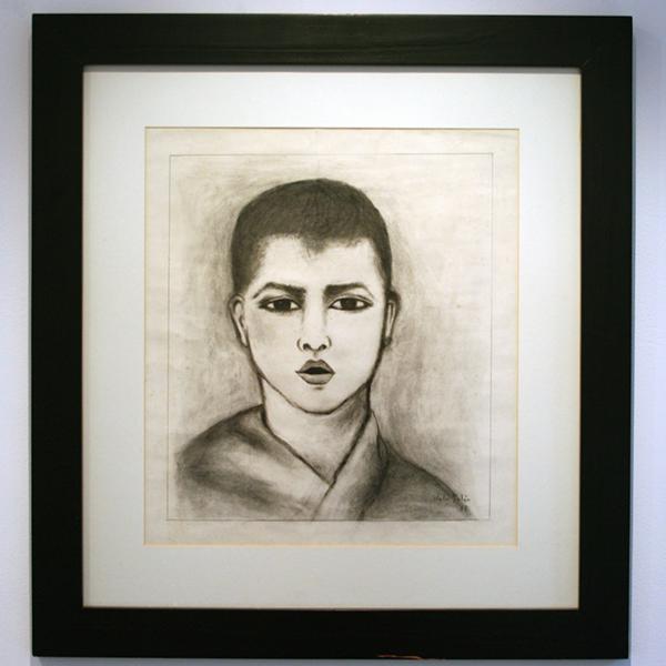 Julio Galan - Untitled - 41x36cm Houtskol op papier