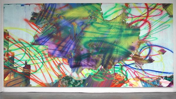 Katharina Grosse - Zonder Titel - Acrylverf op doek 2008