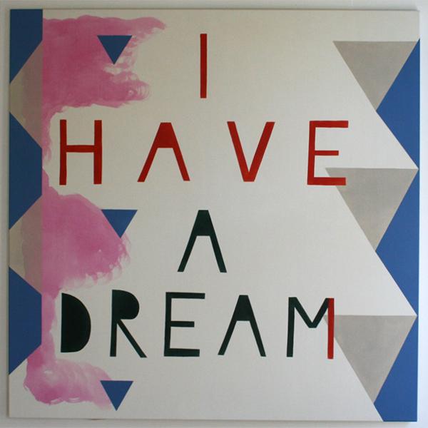 Kim van Norren - I Have A Dream - 140x140cm Acrylverf op doek (tekst Barack Obama)