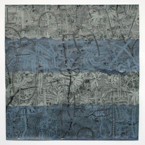 Koen Taselaar - La La Langweilig (Bingedrawing 2) - 186x185cm Potlood en collage op papier