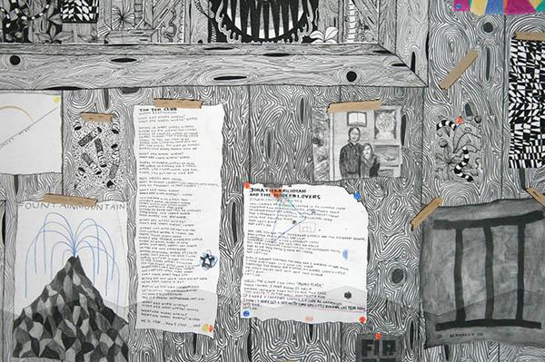 Koen Taselaar - Multititled 4 (Another Magnum Opus) - 195x136cm Mixed media op papier (detail)