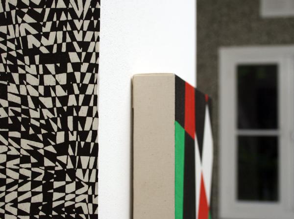 Koen Taselaar - Zonder Titel - Stencil op papier & Niek Hendrix - 10310 (III) - 38x32cm Olieverf op doek op paneel (detail)