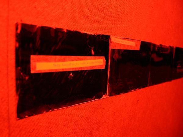 Lianne Rued - Internals - Installatie, hout, met stift bewerkte foto's (detail)