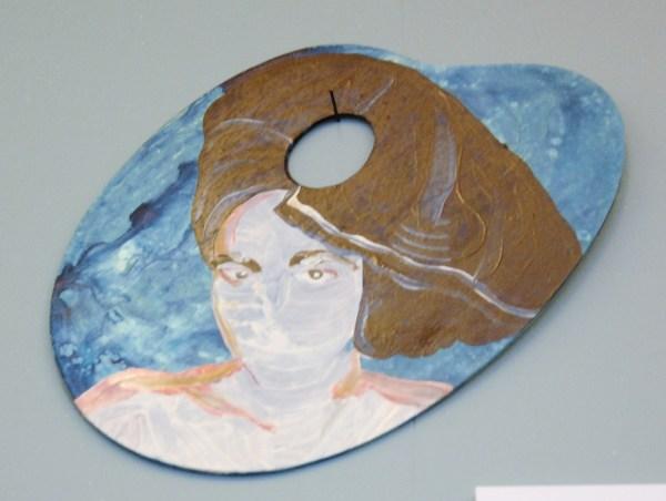 Lotte van Lieshout - Dinsdagochtendnaakt nr 62 - Olieverf en acrylverf op palet (€450,-)