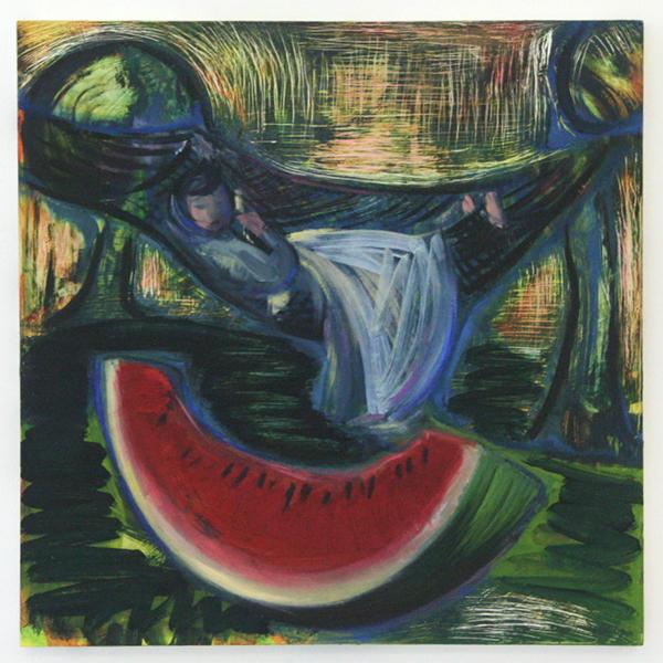 Lucy Stein - To Go Between - 50x50cm Olieverf op paneel