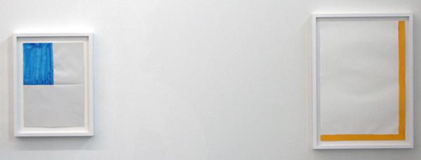 Marijn van Kreij - Untitled (1, 4th blue & Yellow Line) 30x21cm & 42x30cm Gouache op papier
