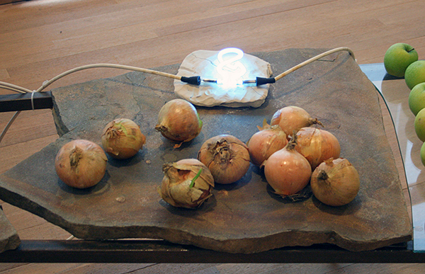 Mario Merz - La Nature e l'Arte del Numero - Metaal, natuursteen, klei, neonbuis, takkenbossen, groente en fruit 1976 (detail)