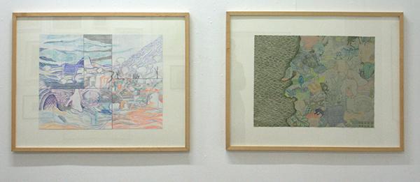 Marisa Rappard - Fragmented Landscape - 50x65cm Potlood op papier & Map V - 48x63cm Potlood op gekleurd papier