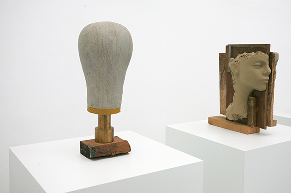 Mark Manders, Head Study, 2012-2013, wood, brass, painted canvas, 16.5x16x41cm