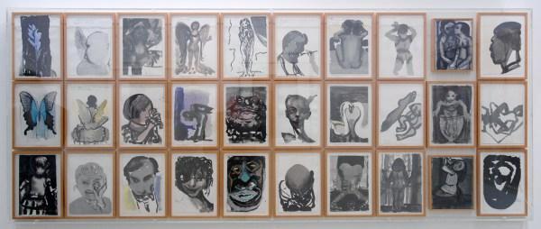 Marlene Dumas - Kunstproject De Halte - 28 aquarellen op papier en 2 olieverf op doek