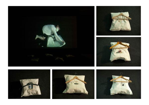 Marlies Arts - Opdat ik me herinner maar ze niet ken I - Film 25 min met objecten 35x35cm, katoenen lappen met jassen en objecten uit prive collectie, 2012